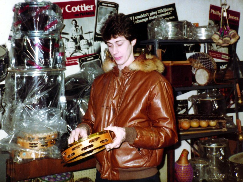 Chris Lamb at Drummers World in 1985