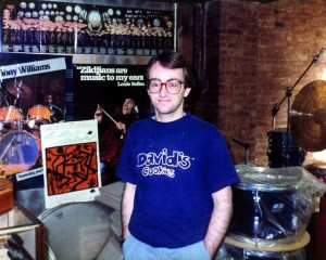 Dave Mattacks at Drummers World in the mid 1980s