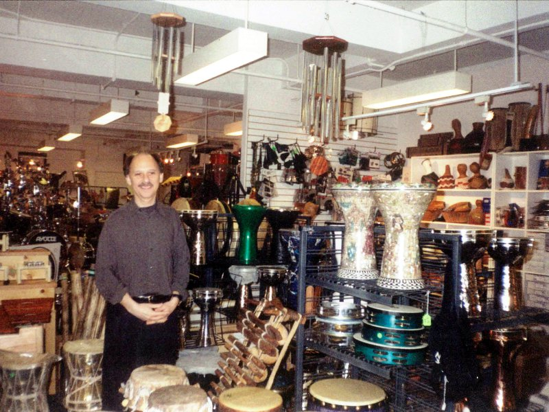 Barry introduces World Percussion at Drummers World circa 1999