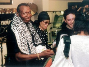 Elvin Jones with Keiko at Drummers World clinic in 2001